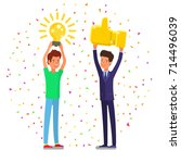 concept of idea and positive... | Shutterstock .eps vector #714496039