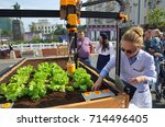 Small photo of Moscow, Russia - September 10, 2017: Celebration of the city Day of Moscow (870 years) on Tverskaya street. Demonstration of work of the first Russian Autonomous agronomic robot