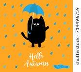 hello autumn. black cat holding ... | Shutterstock .eps vector #714496759