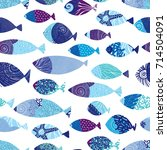 blue fish. sea seamless pattern. | Shutterstock .eps vector #714504091