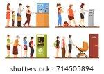 queue people set with registry... | Shutterstock .eps vector #714505894