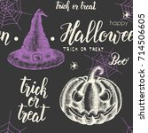 halloween seamless pattern with ... | Shutterstock .eps vector #714506605