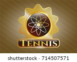 gold badge or emblem with atom ... | Shutterstock .eps vector #714507571