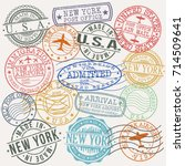 new york usa stamp vector art... | Shutterstock .eps vector #714509641
