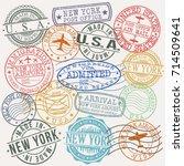 new york usa stamp vector art... | Shutterstock .eps vector #714509641