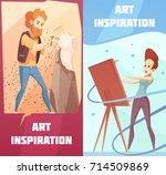 art inspiration 2 vertical... | Shutterstock .eps vector #714509869
