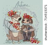 cute autumn girl with dog and... | Shutterstock .eps vector #714515371