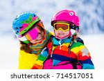 family ski vacation. group of... | Shutterstock . vector #714517051