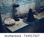 witch's hat and pumpkin statue... | Shutterstock . vector #714517327