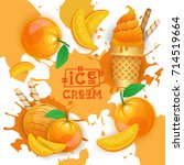 ice cream with peach taste... | Shutterstock .eps vector #714519664