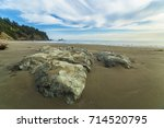 large rock on beach against... | Shutterstock . vector #714520795