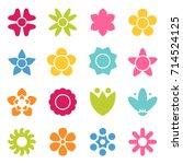 Stock vector flower icon collection in flat style daisy symbol or logo template pictogram blossom silhouette 714524125
