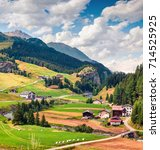 colorful rural landscape in the ... | Shutterstock . vector #714525925