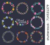 vector collection wreath floral ... | Shutterstock .eps vector #714531379