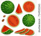 watermelon vector. set of half  ... | Shutterstock .eps vector #714532261