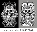 graphic skull with crossed... | Shutterstock .eps vector #714532267