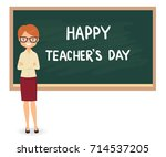 happy teachers day. young... | Shutterstock .eps vector #714537205