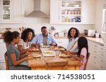 family with teenage children... | Shutterstock . vector #714538051