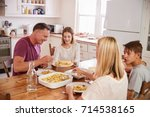 family with teenage children... | Shutterstock . vector #714538165