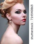 closeup portrait of sexy... | Shutterstock . vector #714540865