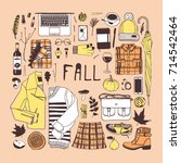 hand drawn fall fashion... | Shutterstock .eps vector #714542464