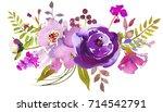 pale bright purple watercolor... | Shutterstock . vector #714542791