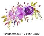 purple watercolor floral... | Shutterstock . vector #714542809
