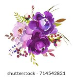 Purple Watercolor Floral Round...