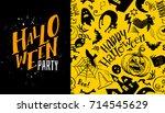 halloween seamless pattern with ...   Shutterstock .eps vector #714545629