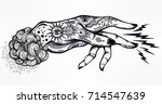 flash magic. inked human hand ... | Shutterstock .eps vector #714547639