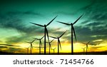 wind turbines silhouette at... | Shutterstock . vector #71454766