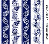 set of lace bohemian seamless... | Shutterstock .eps vector #714549955