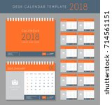 desk calendar 2018 vector... | Shutterstock .eps vector #714561151