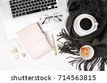 workspace with laptop  planner  ... | Shutterstock . vector #714563815