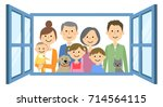 family to look out from the... | Shutterstock .eps vector #714564115