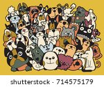 doodle dogs and cats group ... | Shutterstock .eps vector #714575179