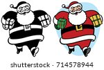 santa claus carrying gifts...   Shutterstock .eps vector #714578944