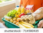 grocery store delivey man... | Shutterstock . vector #714580435