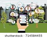 social network web site surfing ... | Shutterstock .eps vector #714584455