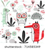 cute vector background with... | Shutterstock .eps vector #714585349