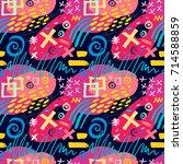 creative seamless pattern.... | Shutterstock .eps vector #714588859