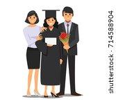 student and family celebrating... | Shutterstock .eps vector #714588904