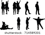 silhouette people acting in... | Shutterstock .eps vector #714589201