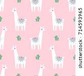 Cute Lama With Cacti Seamless...