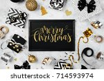 merry christmas card with black ... | Shutterstock . vector #714593974
