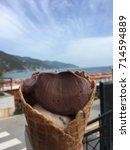 Small photo of Chocolate gelato in Cinque Terre, Italy
