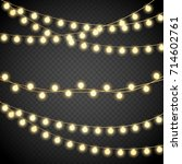 christmas lights isolated on... | Shutterstock .eps vector #714602761
