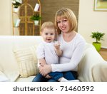 little boy and his young mother ... | Shutterstock . vector #71460592