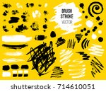 set stroke. brush  pen  marker  ... | Shutterstock .eps vector #714610051
