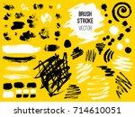 set stroke. brush  pen  marker  ... | Shutterstock .eps vector #714610051